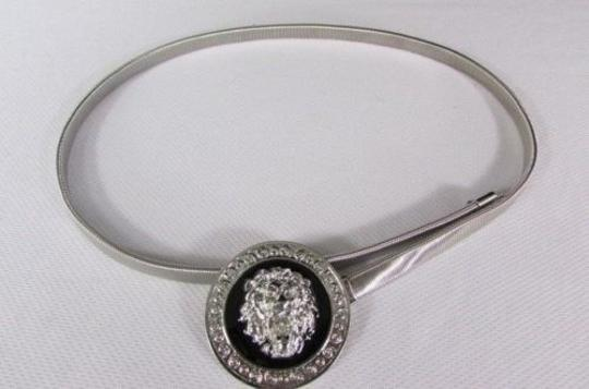 Other Women Hip Waist Silver Black Elastic Metal Lion Thin Fashion Belt
