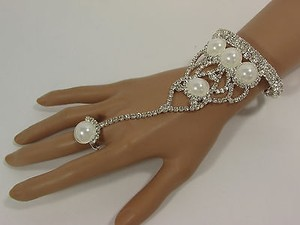 Other Women Silver Net Metal Hand Chain Fashion Bracelet Slave Ring Rhinestones Beads