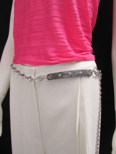 Other Women Hip Waist Silver Metal Chains Fashion Belt Gray Faux Leather 32-42 M-xl