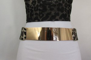 Other Women Leopard Black Elastic Waist Fashion Belt Gold Metal Plate Mirror
