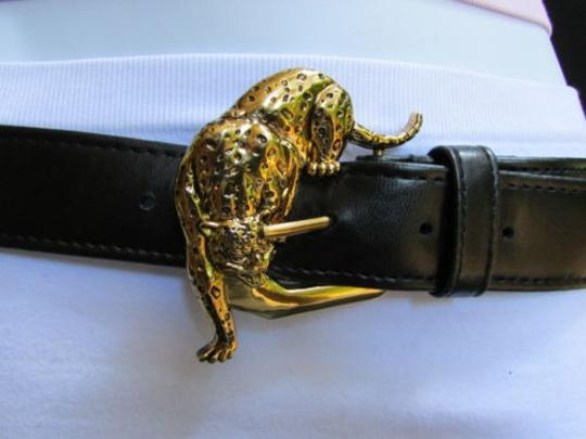 Other Women Faux Leather Black Fashion Belt Gold Tiger Panther Buckle 25-29 Sm