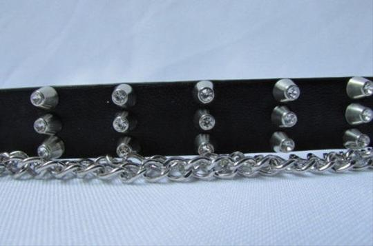 Other Silver Chain Faux Black Boots
