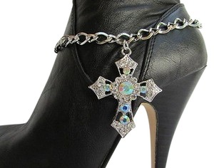 Other Women Silver Boot Anklet Chain Strap Rhinestone Big Cross Western Shoe Charm 16