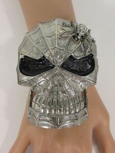 Silver Metal Skull Cuff Bracelet Fashion Jewelry Rhinestones Spider Net Mask