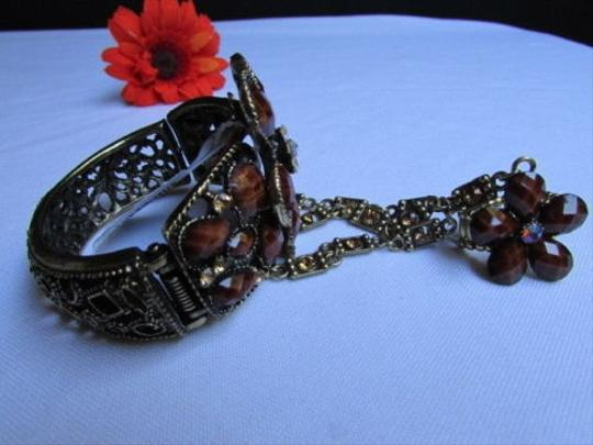 Other Women Gold Cuff Slave Bracelet Coneccted Ring Brown Beads Big Center Flower