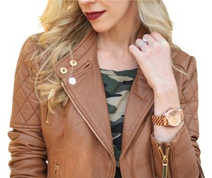Michael Kors Moto Leather Brown Leather Jacket