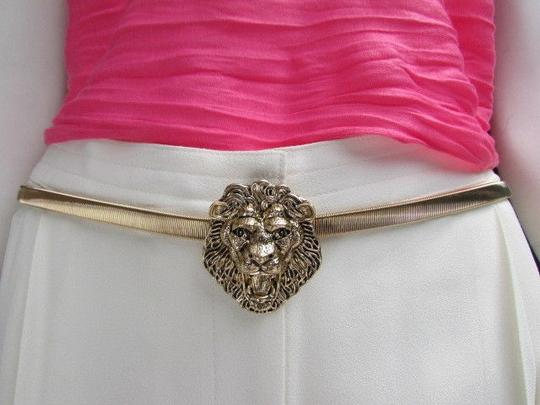 Other Women Hip Waist Dark Gold Elastic Metal Lion Head Narrow Fashion Belt
