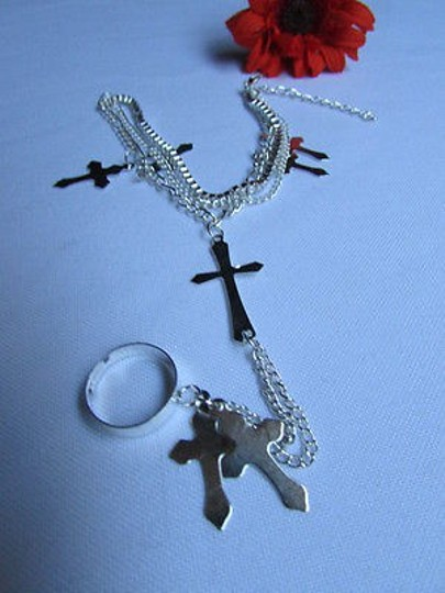 Other Women Silver Metal Bracelet Ring Charms Cross Chains