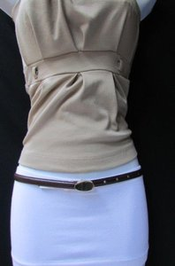 Banana Republic Banana Republic Women Thin Brown Faux Leather Narrow Fashion Belt