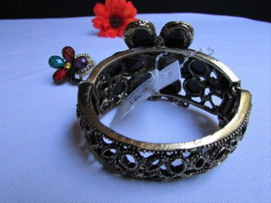 Other Women Gold Cuff Slave Ring Colors Beads Big Center Flower