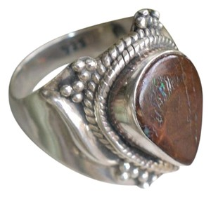 Amazing Natural Boulder Opal .925 Sterling Silver Ring