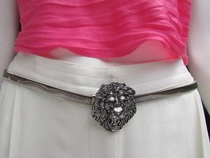 Other Women Hip Waist Antique Silver Elastic Metal Lion Head Fashion Belt 25-40