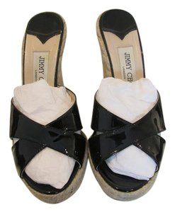 Jimmy Choo Patent Leather Espadrille Slide Black Wedges
