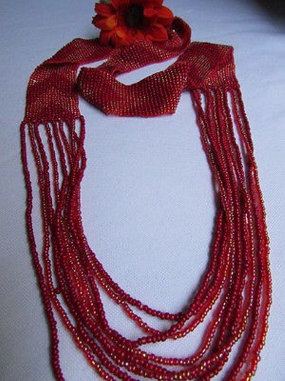 Other Women Long Fashion Red Pink Beads Necklace Trendy Hawaiian Beach Style