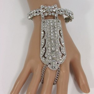 Other Women Silver Hand Chain Bracelet Slave Wide Finger Ring Rhinestone