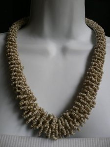 Women Off White Cream Beads Thick Strand Indonesian Fashion Necklace 12