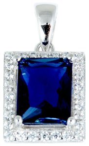9.2.5 gorgeous blue and white sapphire square pendant with free chain