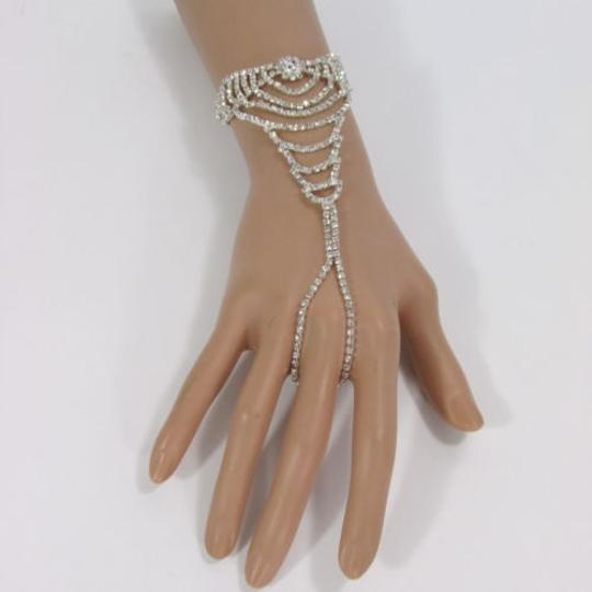 Other Women Silver Wave Metal Bow Hand Chain Fashion Bracelet