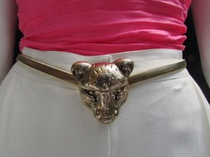 Other Women Hip High Waist Gold Elastic Metal Tiger Head Skinny Fashion Belt