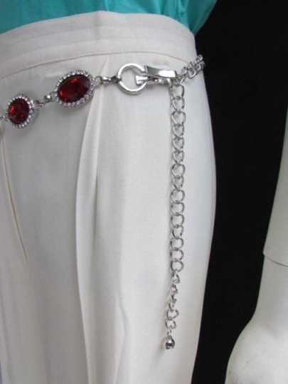Other Women Hip Waist Silver Metal Ring Chains Fashion Belt Red Beads