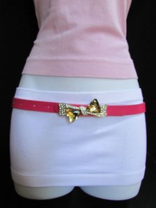 Other Women Thin Faux Leather Pink Fashion Belt Big Crystal Bow Buckle 31-36 Ml