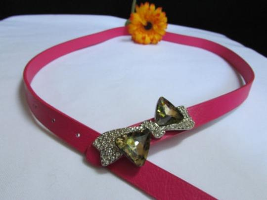 Other Women Thin Faux Leather Pink Fashion Belt Big Crystal Bow Buckle