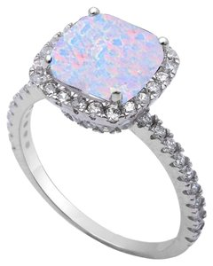 9.2.5 gorgeous opal and white sapphire princess cocktail ring size 8