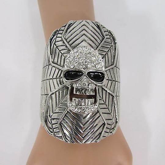 Other Women Silver Metal Skull Cuff Bracelet Fashion Rhinestones Spider Net Mask