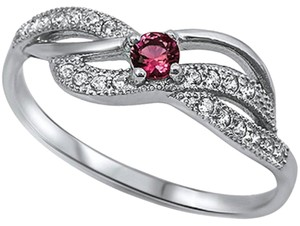 9.2.5 Unique ruby and white sapphire wave ring size 7