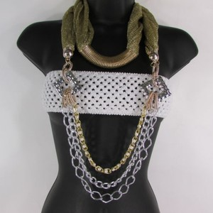 Women Gold Silver Metal Chain Fashion Necklace Infinity Mesh Fabric Scarf
