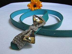 Women Faux Leather Aqua Blue Fashion Belt Big Crystal Bow Buckle 31-36 Ml