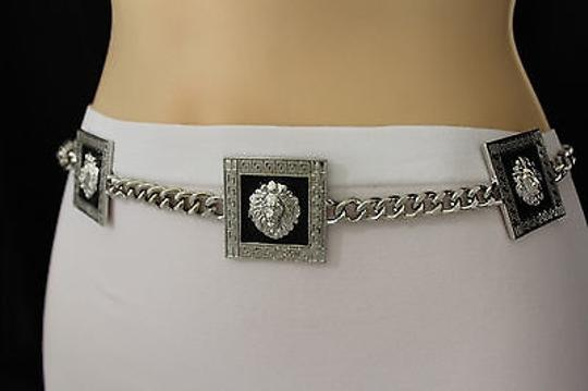 Other Women Fashion Belt Silver Square Metal Chain Lion Head
