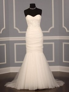 CHRISTOS Ivory Tulle Aura Modern Wedding Dress Size 2 XS