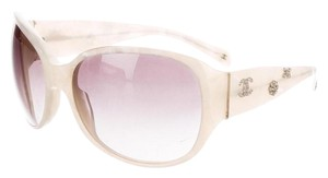 Chanel Creme Pearl Chanel Crystal Embellished Interlocking CC Sunglasses