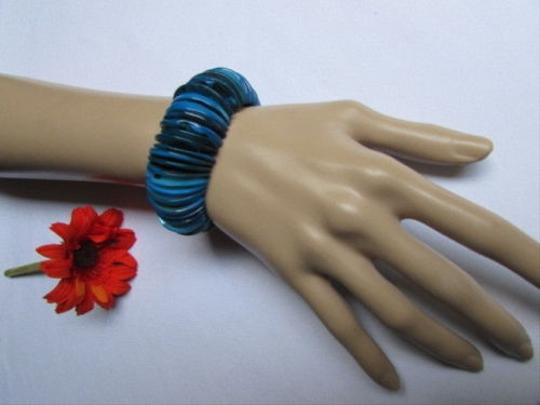 Other Women Wide Sky Blue Rings Red Stone Beads Trendy Fashion Elastic Bracelet