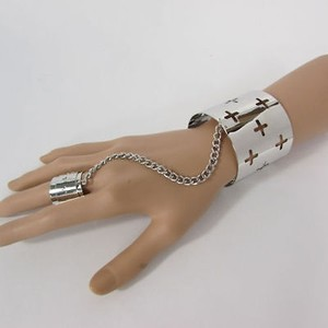 Other Women Silver Metal Crosses Hand Chain Fashion Cuff Bracelet Slave Ring Fingers