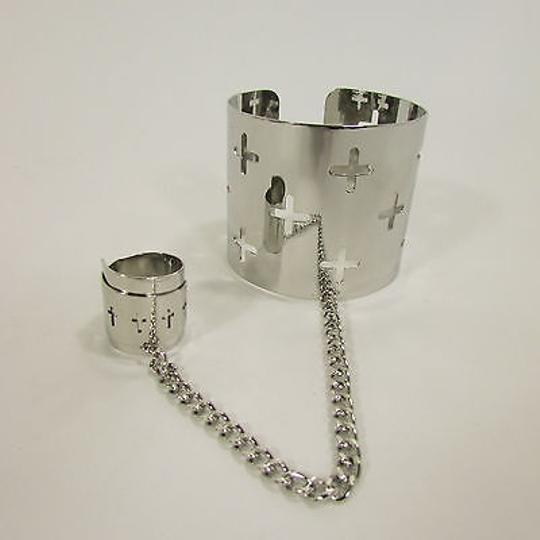 Other Women Silver Metal Crosses Hand Chain Cuff Bracelet Slave Ring Fingers