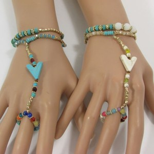 Other Women Fashion Arrow Bracelet Hand Chain Slave Ring White Turquoise Beads
