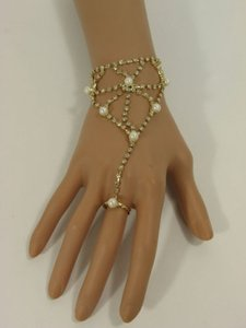 Women Gold Metal Net Hand Chain Fashion Bracelet Imitation Pearl Bead Slave Ring