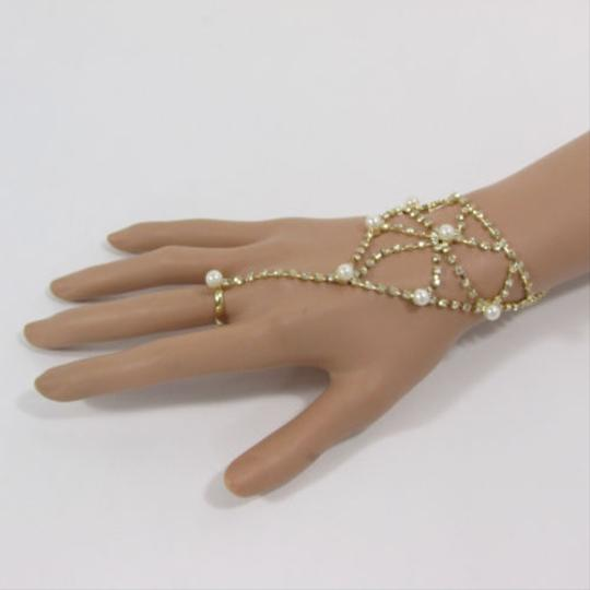 Other Women Gold Net Hand Chain Fashion Bracelet Imitation Pearl Bead