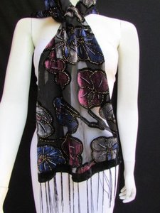 Women Long Black Fashion Fabric Neck Scarf Multi Colors Leaves Gold Faux Velvet