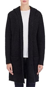 Barneys New York Shawl Open Front Hooded Fuzzy Trench Coat