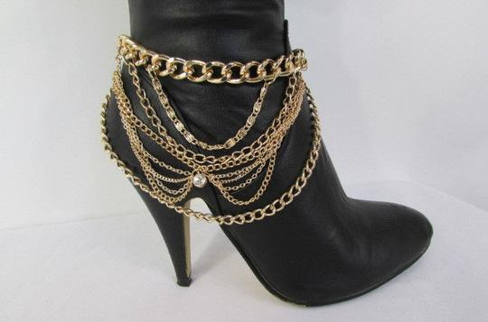 Other Chain Faux Leather Gold Boots
