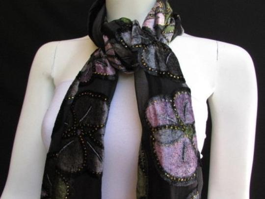 Other Women Black Long Fashion Fabric Neck Scarf Metallic Big Flowers Faux Velvet