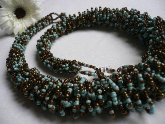Other Trendy Women Necklace Blue Bronze Beads Thick Strand Trendy Fashion 12 Drop