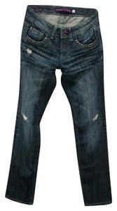 Vigoss Distressed Boot Cut Denim Studded Straight Leg Jeans-Distressed