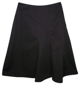 Anthropologie Black Seamed Cotton A-line Skirt