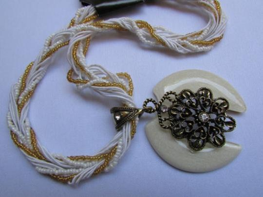 Other Women Strands Fashion Necklace White Glass Flower Pendant Rhinestones 10