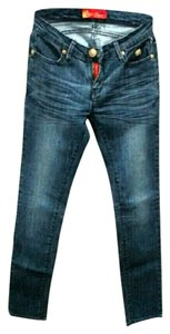 Apple Bottoms Denim Distressed Dark Rinse Studded Straight Leg Jeans-Distressed