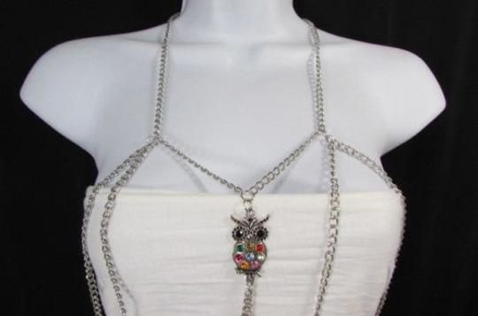 Other Women Silver Metal Body Chain Fashion Jewelry Big Owl Pendant Rhinestones